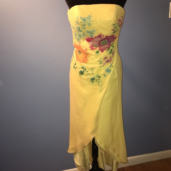 Jovani Dresses Silk Prom Gown Yellow With Floral Design Poshmark